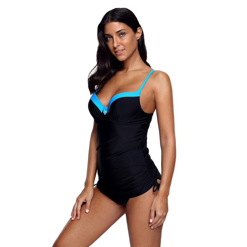 Black Pin up Blue Bustline Tankini With Shoulder Strap Cross Back Waterproof Swimwear Sexy