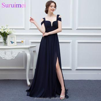 1d94817e45e59 Bariano Ocean Of Elegance Navy Blue Low Cut High Slit Chiffon Semi Formal  Long Evening Dress Women Gown Free Shipping - Buy Navy Blue Evening ...