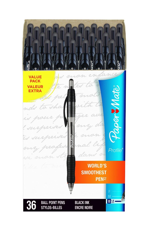 Paper Mate Profile Ballpoint Pens, Bold Point, Black, Box of 36