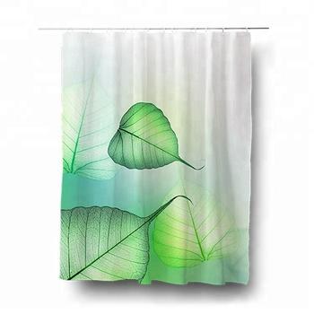 180X200cm Free Sample Leaves Wakanda Green Shower Curtain For Bathroom