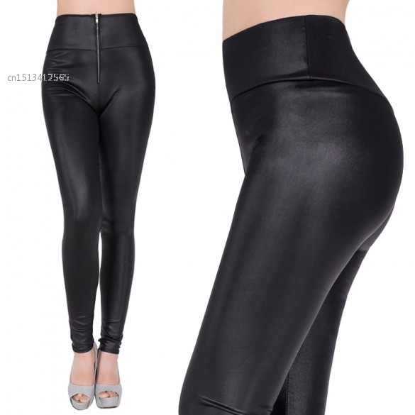 ba695ecdfc Get Quotations · New leather pants Women Sexy Lady's High Waist Stretch  Slim Long Pants Leggings Zipper Pencil Trousers