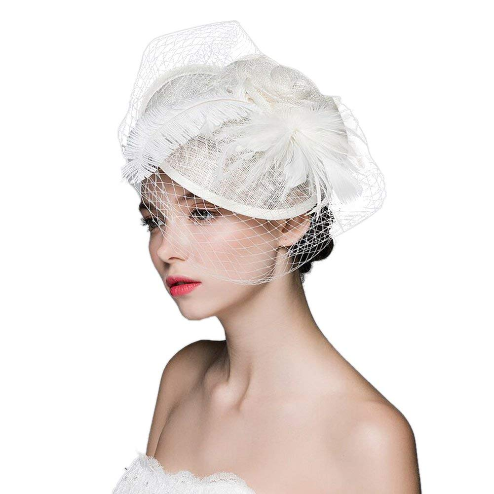 99d84c847225e Get Quotations · Sunsnow Sinamay Fascinator Hat Feather Flower Pillbox Hat  with Veil for Women
