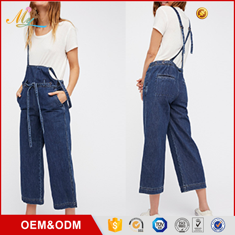 OEM 2017 Summer High quality latest ladies Blue Washed Suspender jeans