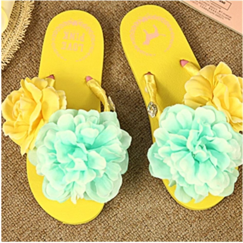 KAKA(TM) Women's Fashion Yellow and Blue Rose Flower Rhinestone Glitter Studded Crystal Thong Sandals Flip Flops Flat Shoes Sandals(39-40)