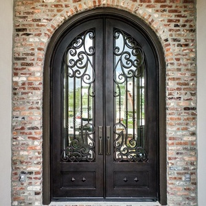 Wrought iron front doors grill design residential safety entry steel door