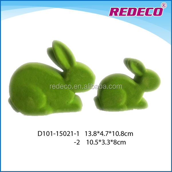 Flocking ceramic rabbit figure for home decoration
