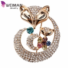 Wholesale Rhinestones Gold Plated Animal Fox Brooches