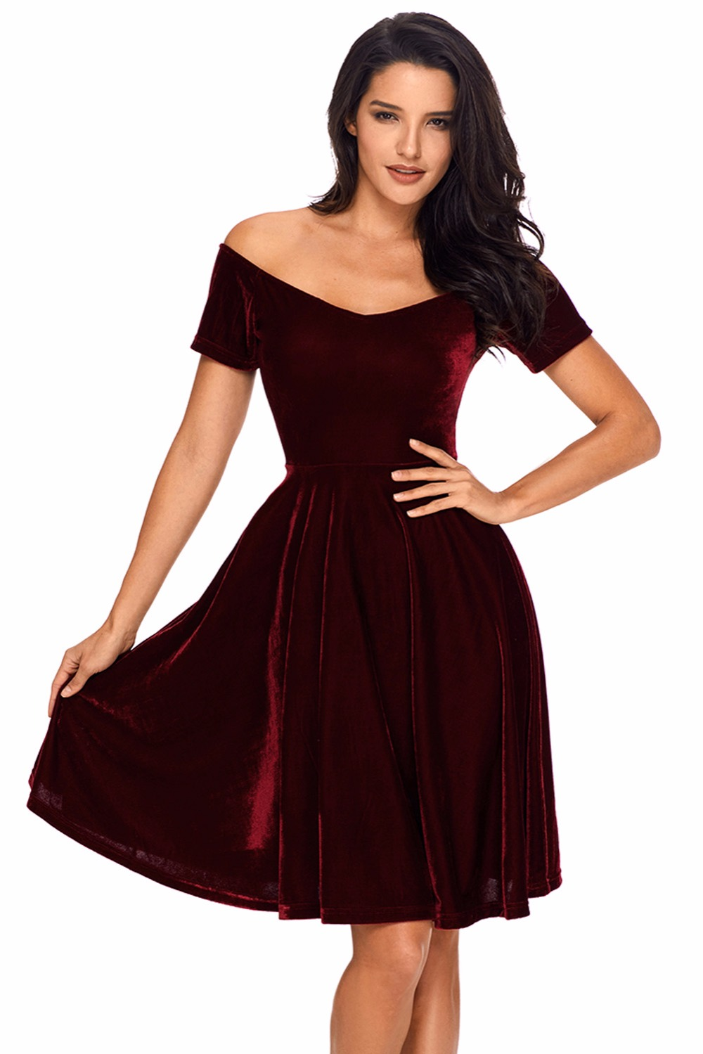 8a44653ca5d96 Dear Lover Velvet Dresses 2018 Sexy Womens Party Vestidos de Festa Off  Shoulder Burgundy Pleated Midi Dress Robe Velours LC61861