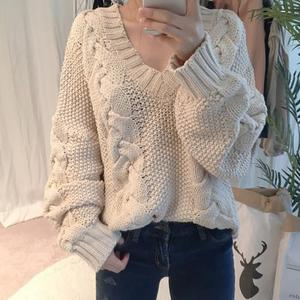 china sweater manufacturer wholesale fashion long sleeve casual loose acrylic knitted sweater women 214308