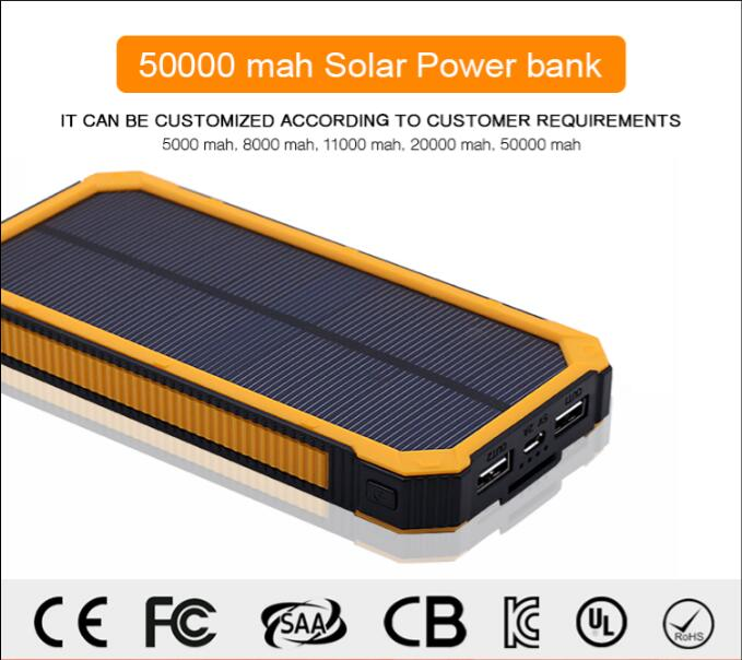 Universal Large Capacity power bank charger portable usb charger 10000 mah solar power bank