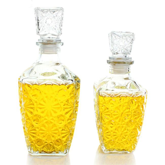 Alibaba de China 500 ml 750 mlfancy diseño licor botella de vino de vidrio con tapón de vidrio
