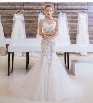 c990326f3 Vestido de novia 2018 más a mano de moda sexy vestido encaje dulce elegante sirena  vestido