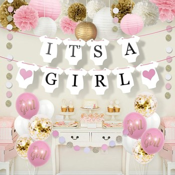 Amazon New Product It's A Girl Party Banner Balloon Set