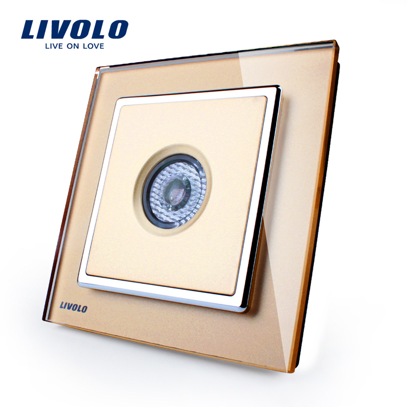 Sound And Light Control Delay Motion Sensor Switch For: Free Shipping LIVOLO New Arrival Golden Glass Panel Sound