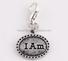 Hot selling vintage style silver 'I Am' pendant/ DIY locket dangle charms/ pet dog tag accessories charm with lobster clasp