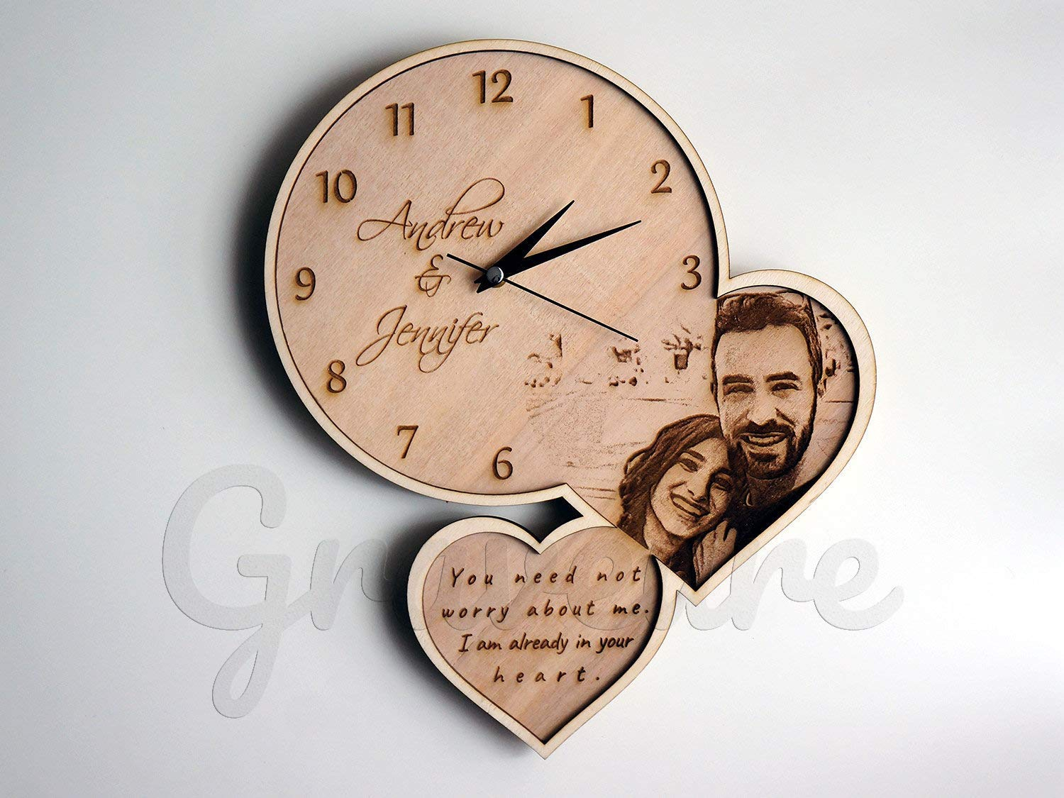 Graveure Wood Burned Picture, Your Custom Photo on Wood, Country Wall Art, Wooden Wall Clock, Customized Wall Clock