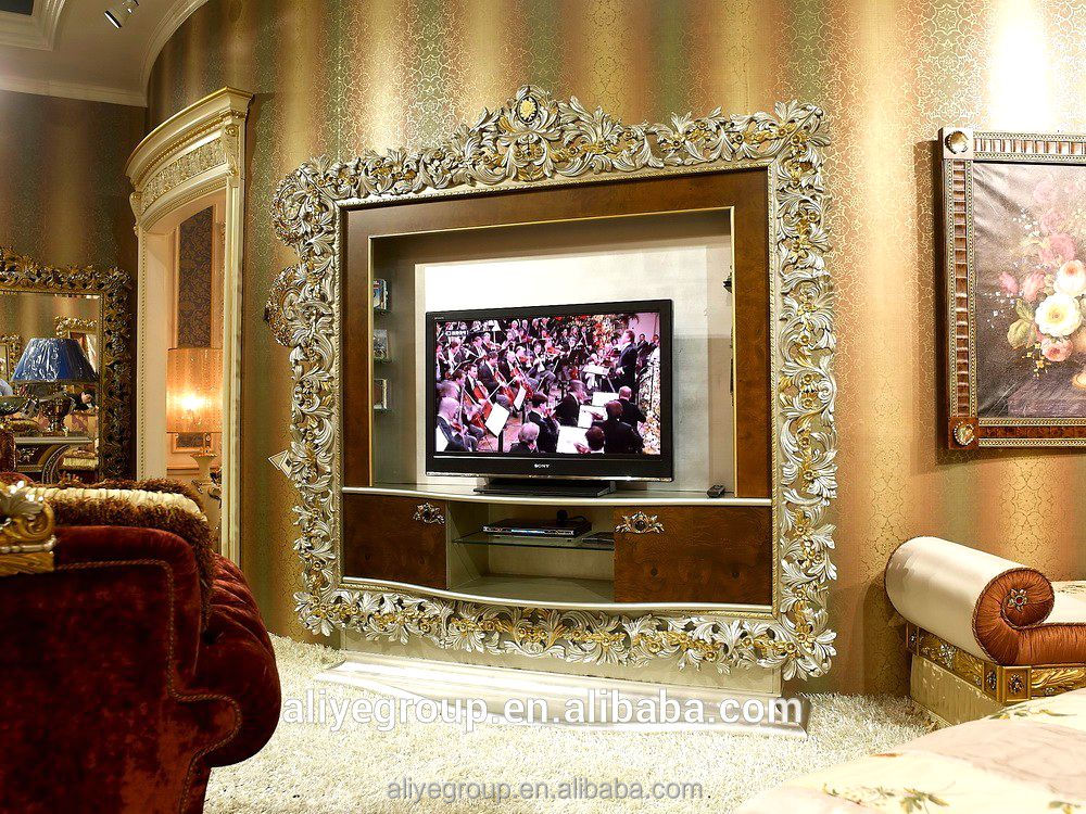 AA12-Classic Wooden TV Cabinet with showcase for luxury living room furniture