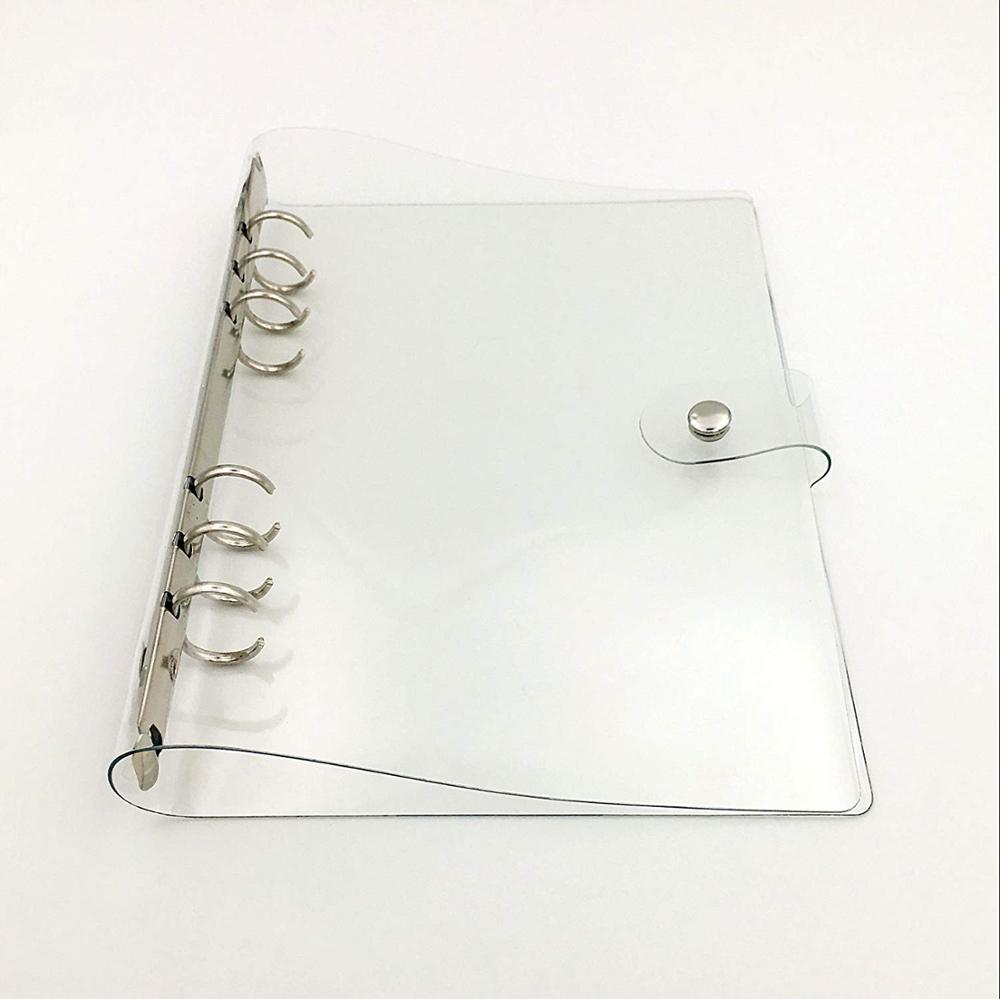 1 Pocket Fully Transparent Soft PVC 6-Ring Binders Cover with Snap Closure for Ring-Bound Pages,A4/A5/A7