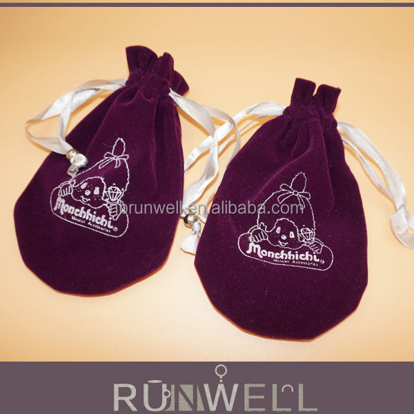Jewelry package Custom Velvet Gift Bags with logo printing