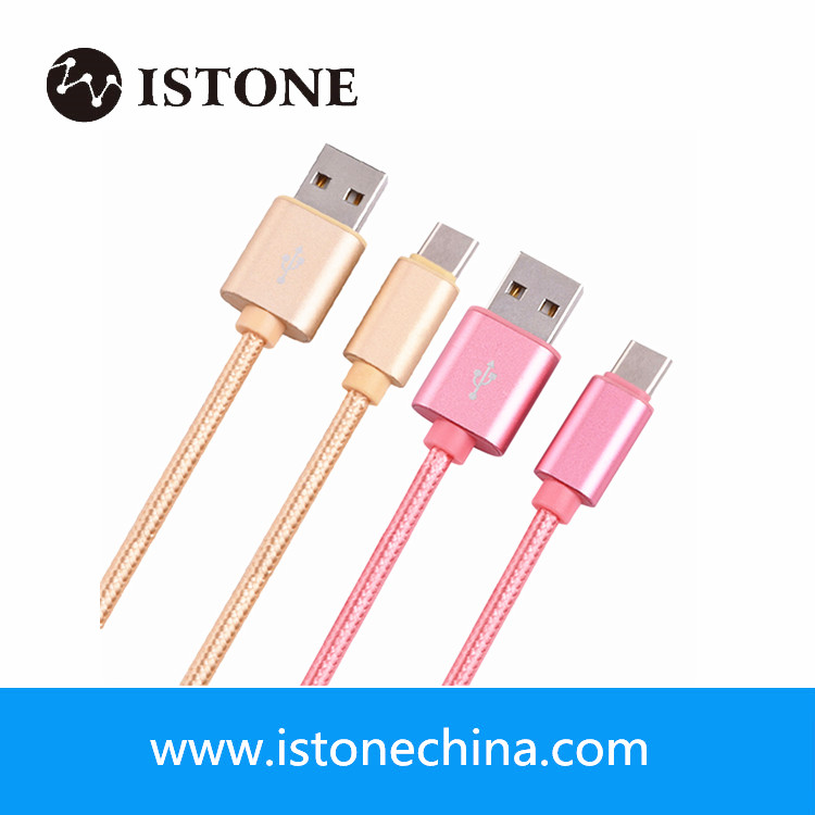 Custom nylon braided quick charge USB type c cable for charge and data transfer
