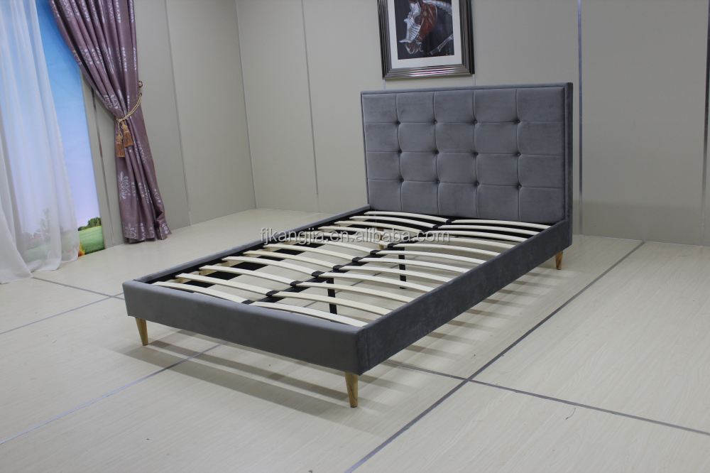 New Style Pulled Detail Wooden Leg Double Bed