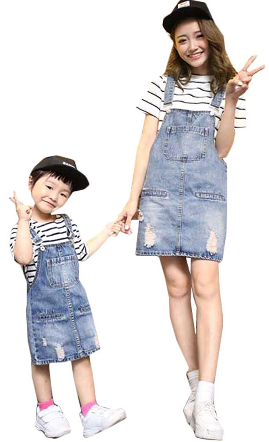 87ecb06f229 Get Quotations · Soojun Juniors and Girls Cute Ripped Denim Bib Overall  Dress