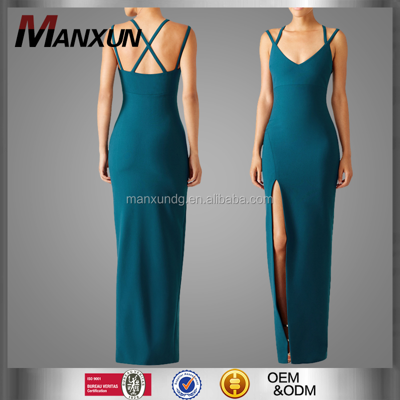Hot Sale Stretch Long Bodycon Dresses High Slit Sexy Evening Gown Woman Knit Blue Maxi Dress