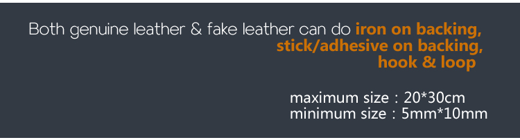 Custom Heat Press Brand Name Logo Genuine Leather Jacket Patches with Iron on Backing