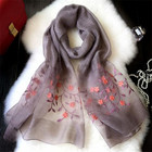 China Silk Scarf Silk And Wool Fabric With Machine Edge