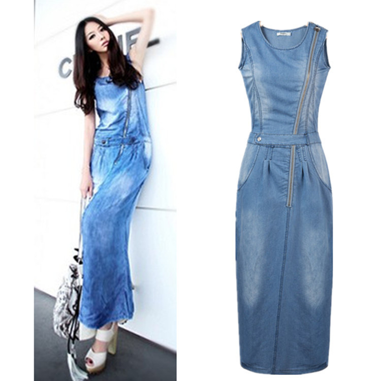 2015 summer  thin denim dress casual women's sleeveless dress long dresses european style plus size vestido de festa dress l1950