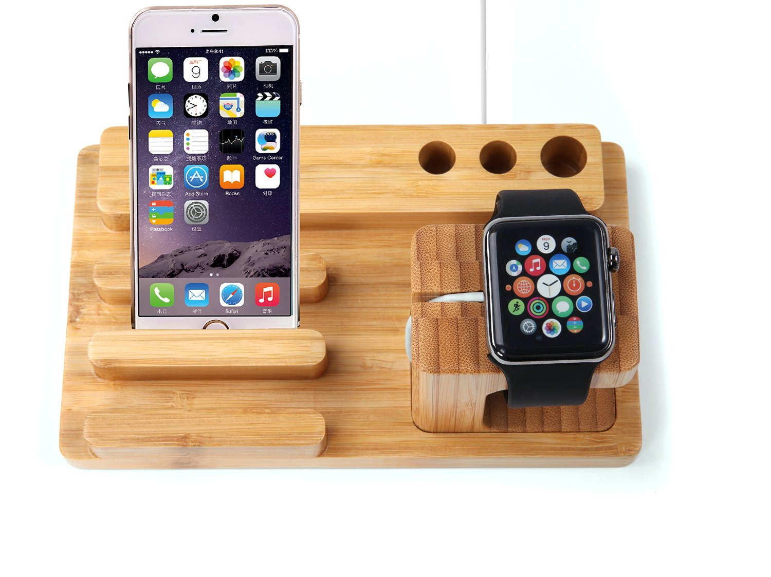 Apple Watch Stand / dock, KuGi High quality Bamboo Wood Charging Stand / holder Bracket Docking Station Stock Cradle Holder For Apple watch 38mm, 42mm and iphone 4 / 5 / 5S / 6 / 7 / 6S / Plus / 5C / 6C. (Bamboo)