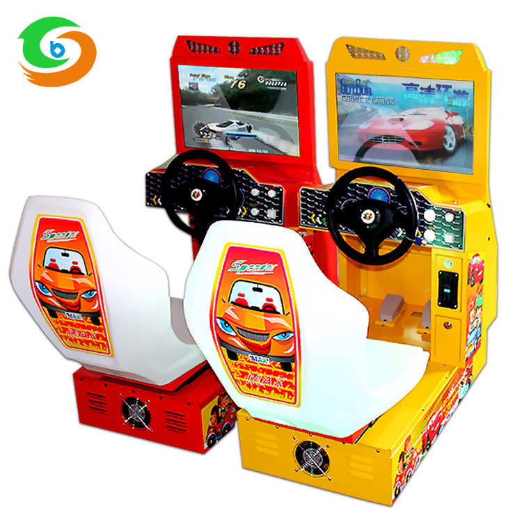 Hardware car simulator game machine with 22'' screen LED light car racing electronic game machine with comfort car seat for kids