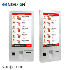 32 inch Wall Mounted restaurant Self Service order kiosk android bill  acceptor payment kiosk with printer