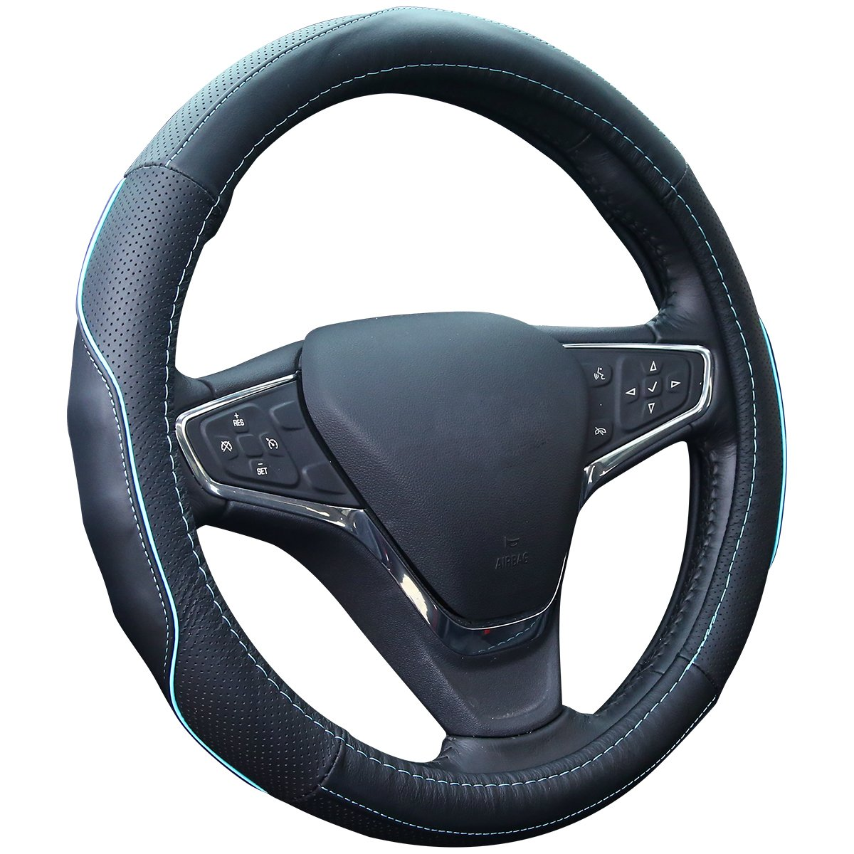 QianBao Genuine Soft Black Leather Car Steering Wheel Cover,Universal Fits 14 Inch Size, Odorless,Anti-Slip, Elegant, Excellent Grip, and Easy Install Wheel Wrap (Blue/Black)