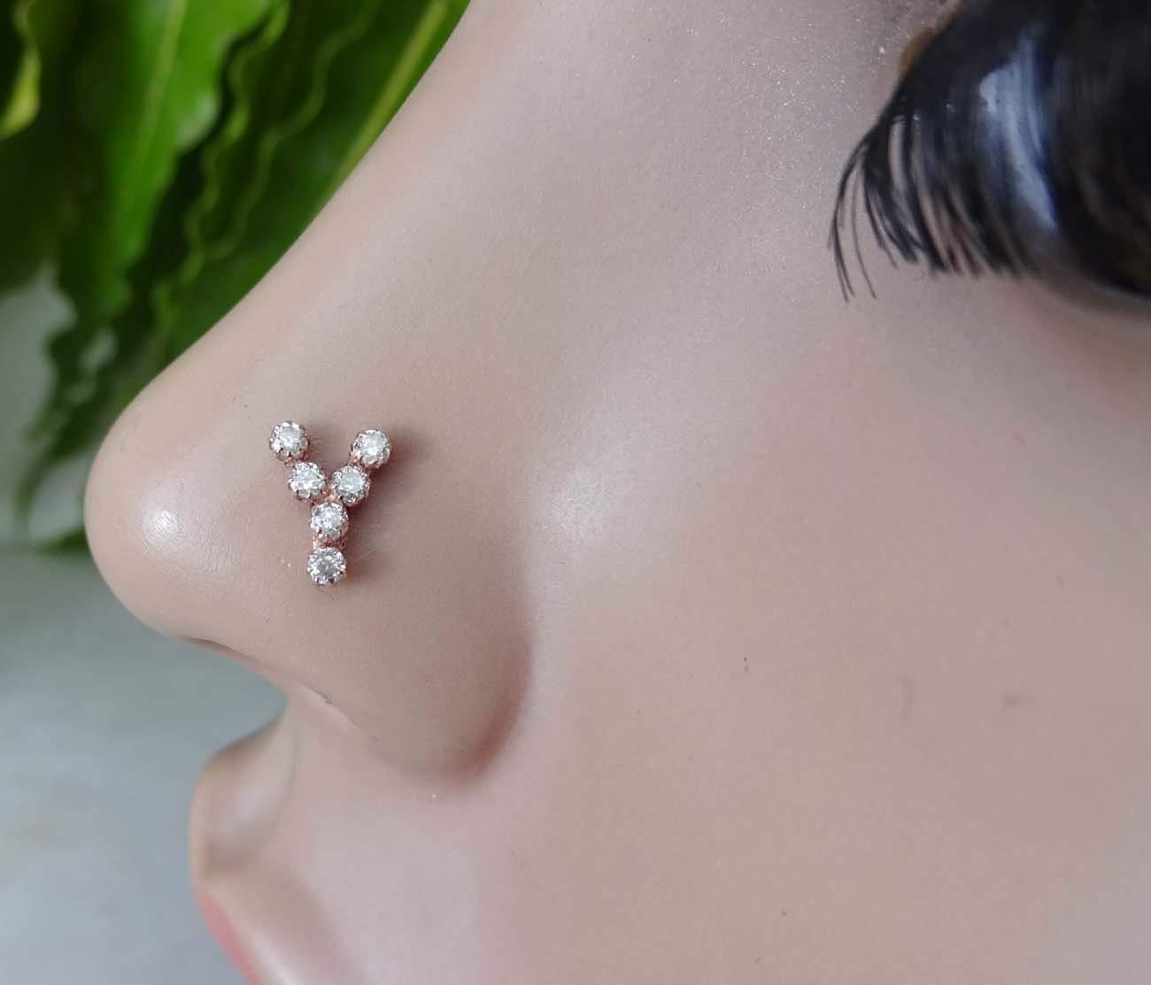 Alphabet Piercing,Indian Nose Stud,14K Gold Piercing,Crock Screw Nose Stud,Nose Piercing,Personalized Nose Stud,Sterling Silver Personalized Initial Piercing,Opal Nose Ring(TEJ483)