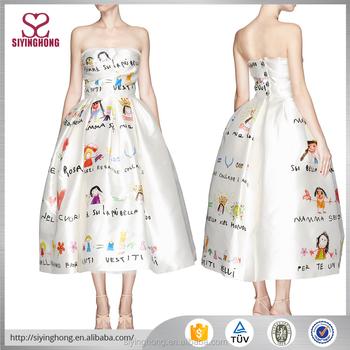 Women Fashion Prom Dress Sketch Printed Silk Off Shoulder Large Hem ...