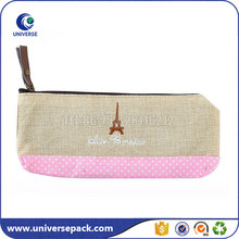 High Quality Customized Embroidery Jute Bag With Zipper For Pencil