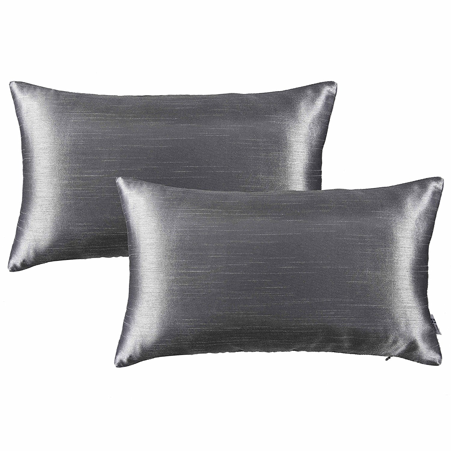 "Pony Dance Luxurious Supersoft Rectangle Decorative Throw Pillow Shams Cushion Covers for Couch, Charcoal Grey,12""x20""(30x50cm),2 Packs"