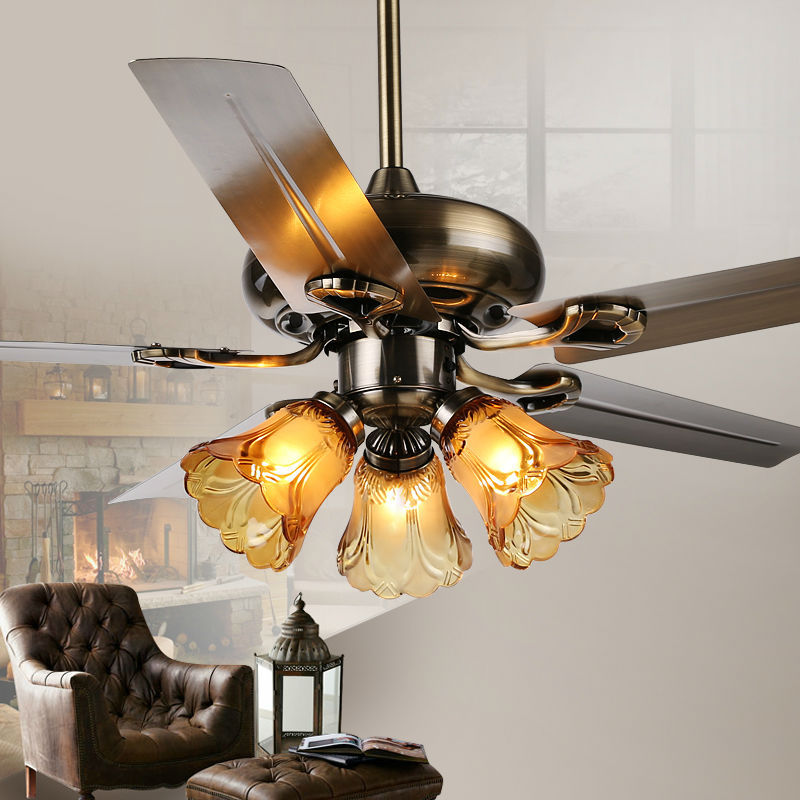 Ceiling Fans With Lights For Living Room: Fashion Ceiling Fan Lights Retro Style Fan Lamps Bedroom