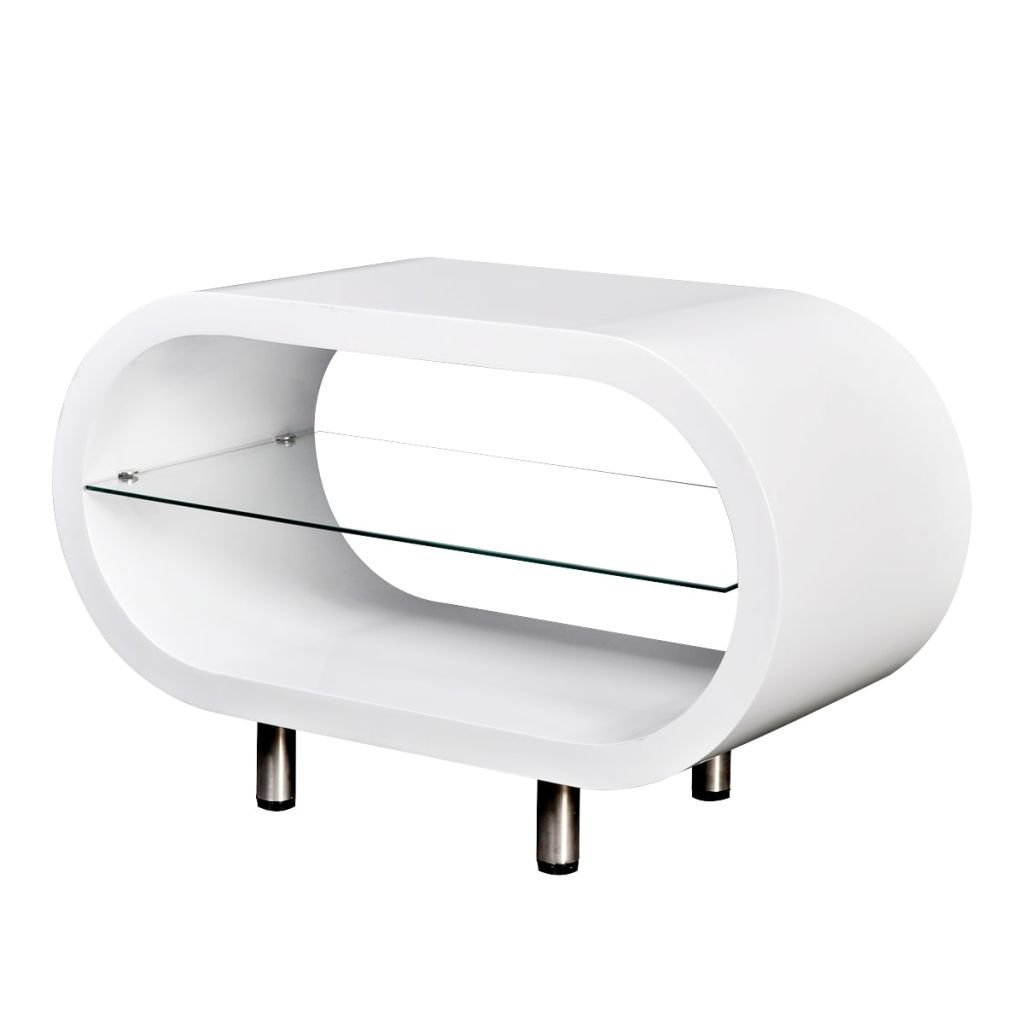 """Office Furniture High Gloss White TV Stand/Oval Coffee Table With Stainless Steel And A Shelf For Storage 31.5"""" x 14.6"""" x 19.7"""" (L x W x H)"""