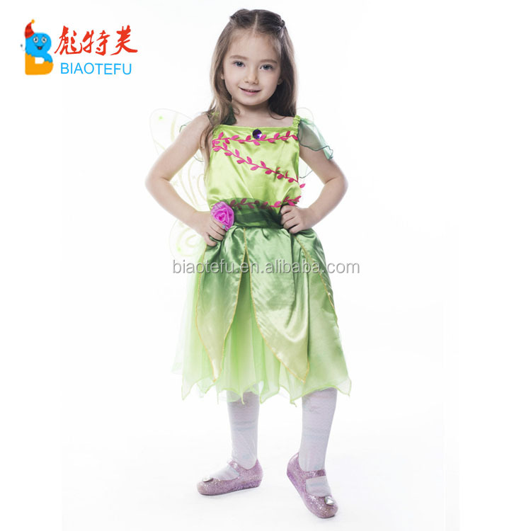 green kids Quality carnival party girls fairy fancy cosplay dress costumes with wings in stock