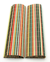 Multi-color bamboo folding table mat in bar