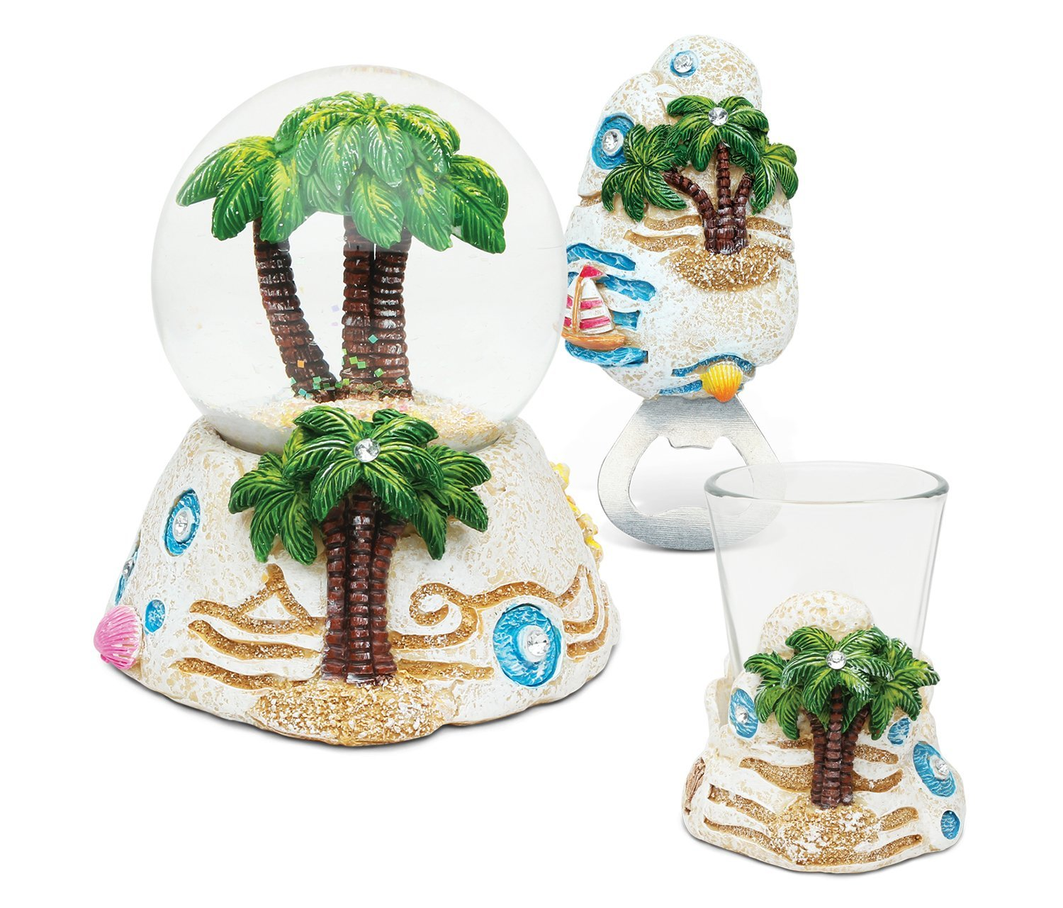 Puzzled Palm Tree Resin Stone Finish Collection including Snow Globe, Magnet Bottle Opener and Shot Glass - Unique Elegant Gift and Souvenir