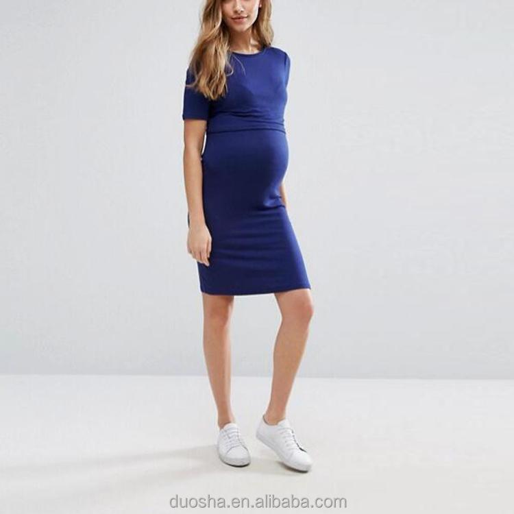 0c0ec08cea043 جديد موضة فساتين قصيرة الأكمام النساء الحوامل زائد حجم الأمومة الملابس