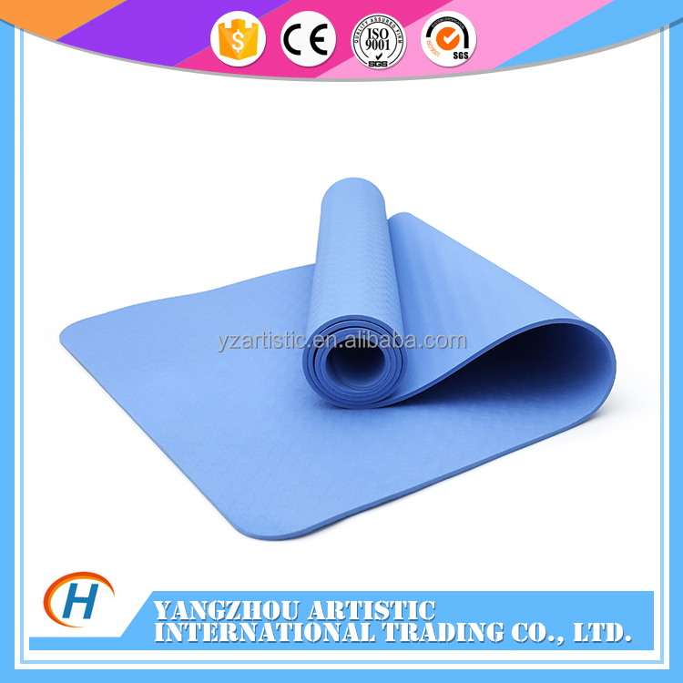 Women Exercise 6mm thick rubber yoga mat tpe 6 mm with handle