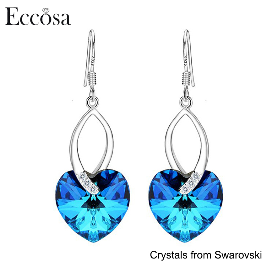 Eccosa Custom 925 Sterling Silver Jewelry Love Heart French Hook Dangle Earrings Adorned Made with Crystals From Swarovski