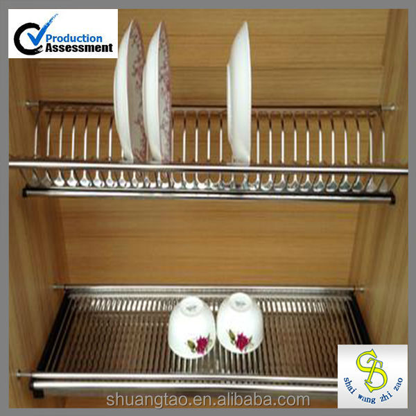 Kitchen Cabinets Plate Rack: Stainless Steel 201 Kitchen Cabinet Dish Rack