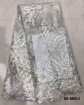 White African Pearls Embroidered Net Fabric Fancy Tulle Lace For Aso Ebi
