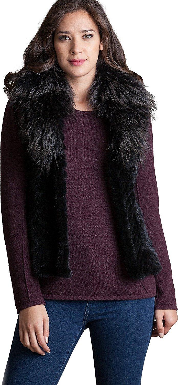 Overland Sheepskin Co Renee Danish Knitted Mink Fur Vest with Raccoon Fur Collar