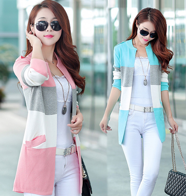 Fancy Ladies Tops Latest Design New Style Checked Knit Sweater For